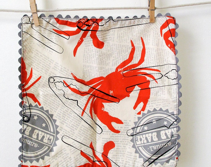 Featured listing image: Crabs Anyone Rick Rack Cloth Napkins