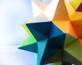 Rainbow geometric origami star- rainbow star polyhedron