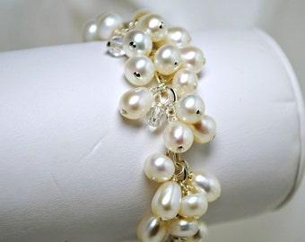 Freshwater Pearl Cluster Bridal Bracelet, Black Briolette Crystal, Wedding, Cream, Ivory, Bridesmaid Bracelet, Chain Charm Bracelet, Beach