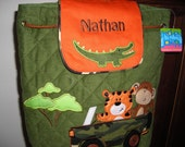 Personalized Stephen Joseph Signature Collection Quilted Back Pack Safari by Never Felt Better