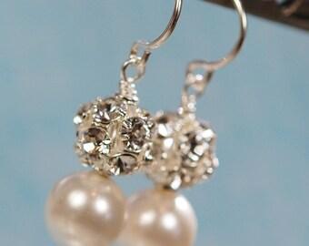 Glass Pearl and Rhinestone Ball Earrings, Swarovski Crystal, Sterling Silver Ear Wires