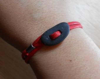 SALE, Beach Stone Jewelry - Sea Pebble Wrap Bracelet - STONED