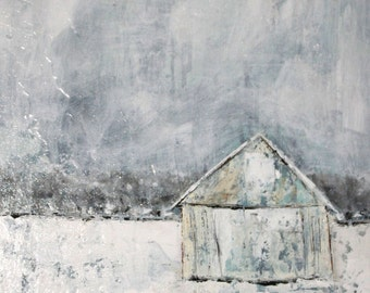 Original Art - Winter Barn In White