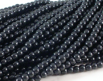 """Glass Beads (GB92) 12"""" strand approx 80 beads 4mm Opaque Black Round Druk for Jewelry Making and Crafts"""