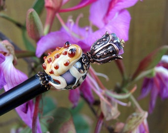 Puddle Jumping Ball Hugging Frog Beaded Wood Hair Stick or Shawl Pin  (Black)
