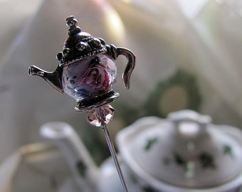 Tea in the Rose Garden Tea Pot Victorian Hat Pin