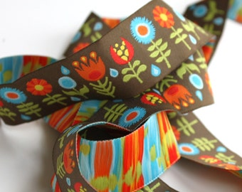 Jessica Jones RIBBON - 7/8 Inch x 5 Yards - Retro Flowers - Brown