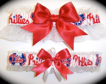 Philadelphia Phillies Wedding Garter Set   Handmade   Keepsake and Toss Bridal rw1