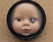 SALE ITEM - Bling Baby Upcycled Doll Face Pendant