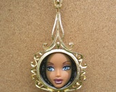 Monocular - upcycled doll face pendant necklace