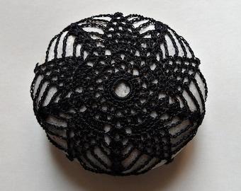 Home Decor, Collectible, Housewares, Crochet Lace Stone, Handmade, Art, Original, Table Decoration, Black Thread