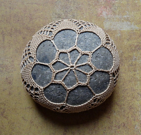 Home Decor, Collectible, Housewares, Crocheted Lace Stone, Handmade Art, Original, Table Decoration, Golden Beige Thread with Gray Stone