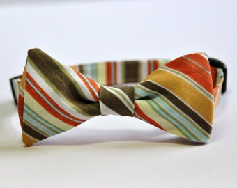 Boy's Bow Tie - Thanksgiving Tie - Fall Stripe - Orange and Olive Stripe Bowtie