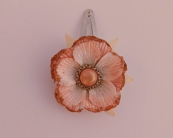 Burnt Orange Flower Barrette, Rust Barrette, Flower Snap Barrette