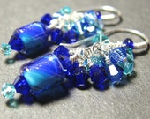 Petite cobalt blue dangle furnace bead earrings Crystal clusters  Sterling silver DEEP