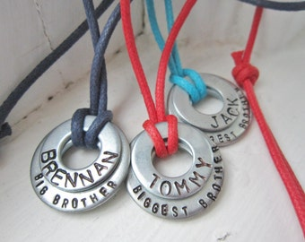 Personalized Big Brother / Middle Brother /  OR Little Brother Washer Necklace with custom cord color