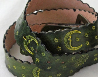 Retro Style Hand Tooled Leather Belt -  The Sun and The Moon and The Stars