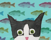 Funny Tuxedo Cat with Fish - 5 x 7 Print - Silent Mylo Tuxedo Cat with Fish -- Cat Art - Gift for Cat Lover - Funny Cat Print