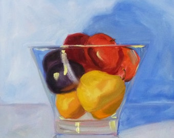 Still Life Oil Painting, Original on Canvas, 12x12, Fruit Painting, Kitchen Art Wall Decor, Pear, Plum, Peach, Lemon, Blue, Yellow, Red