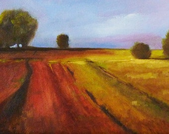 Country Fields Landscape Oil Painting, Stretched Canvas, Original Farm Scene, Wall Decor, 6x8 Prairie, Horizon Wall Decor, Rural,Brown,Green