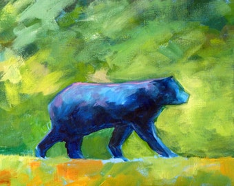 Original Bear Painting, 9x12 Acrylic on Canvas, Wild Animal, Abstract Forest Creature, Woodland Wall Decor, Blue, Green