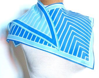 Blue Herringbone Origami - a vintage Mid-Century 1950's Vera Neumann hand-painted wing-tip scarf