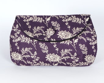 Purple floral clutch purse