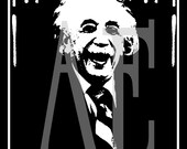 QS-001 Artistic Ephemera Art - 8x10 PRINT - Albert Einstein Quote Am I...Crazy - Also Available as Small Prints, Thank You Cards, Postcards