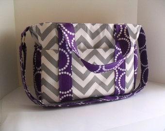 Extra Large Diaper bag - Chevron and Purple Fabric - Messenger Bag - Nappy Bag