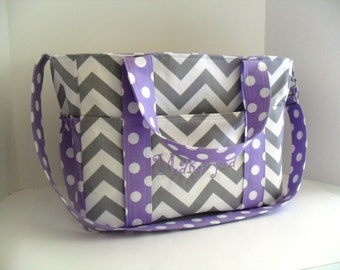 Extra Large Diaper bag Made of Gray Chevron Fabric  and  Lavender Polka Dot - Monogramming Available - Diaper Bag - Messenger Bag