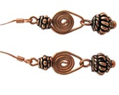 Copper Earrings Spiral Dangles with Copper Beads