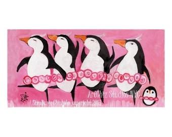 Penguin Illustration. Ballerina Art. Dance Recital Gift. Pink Tutus. Swan Lake. Baby Penguin. Wall art for children. Kids art Print.