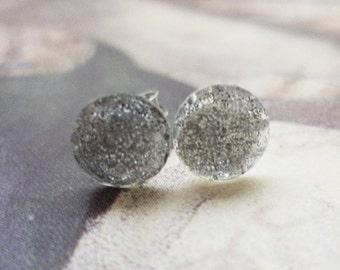 Tiny Glittering Silver Dots Faceted Plastic Post Earrings