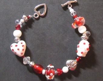 Valentine Lampwork Bracelet