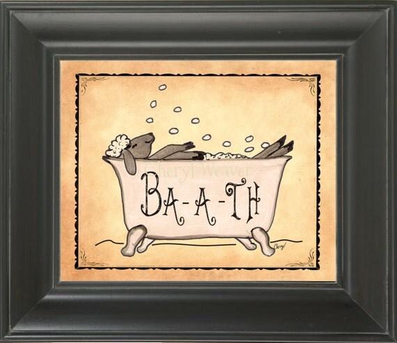 Items similar to bath sheep ba a th sheep bathroom print for Americana bathroom ideas