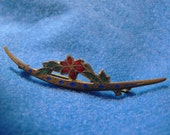 Antique Brooch, Crescent Moon, Enameled, Gold Plated, ca 1910s, NT-1275