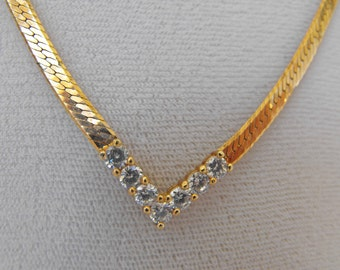 Vintage Necklace, Gold Plated Snake Chain, V-Shape w/Rhinestones, ca 1970s LK-145