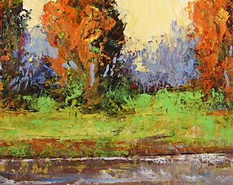 Bobbi Doyle-Maher Southern Landscape  Original Acrylic Painting Colorful palette knife painting