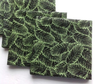 Green Leaves Eco Friendly Cotton Cocktail Napkins, Fabric Cocktail Napkins Beverage Napkins - set of 6