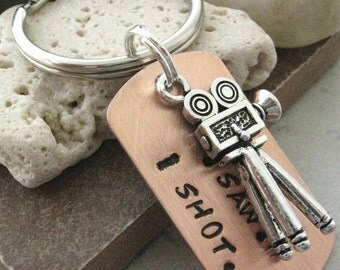 Filmmaker Keychain, movie camera charm, I Came.  I Saw.  I Shot., director gift, movie maker gift, optional initial disc, see pics