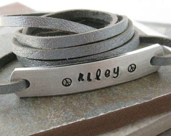 Personalized Wrap Bracelet, choose leather and metal type, great gift for new mom, mothers day