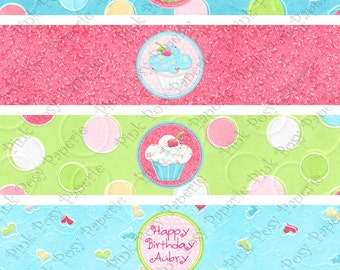 Printable Hey Cupcake Birthday Water Bottle Wrappers