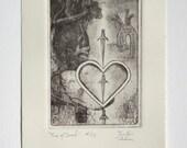 Three of Swords - limited edition fine art intaglio etching