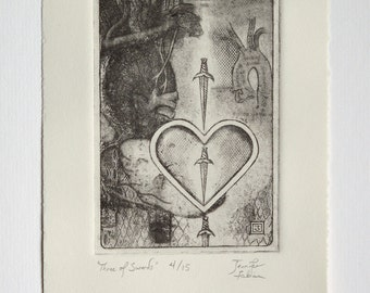 Three of Swords - limited edition fine art intaglio etching
