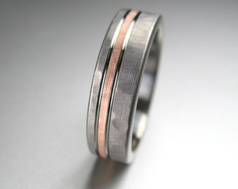 Men's Wedding Band Titanium & Rose Gold Hammered Comfort Fit