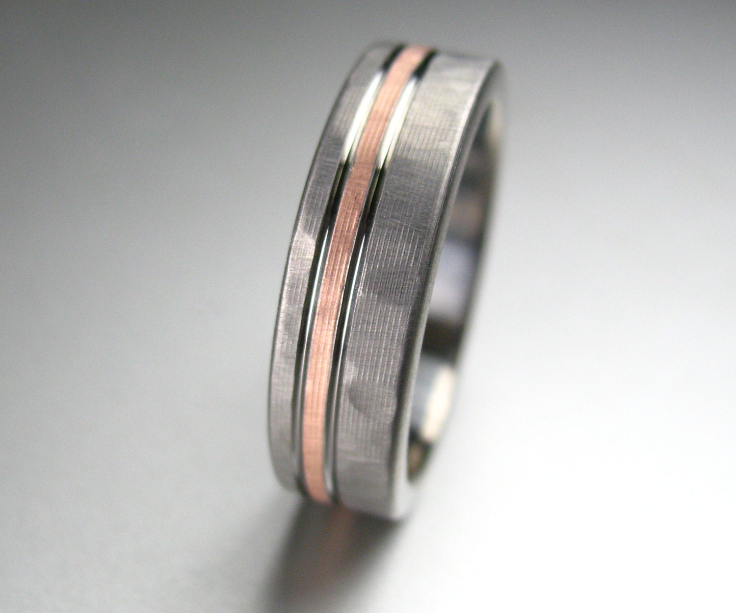 men's wedding band titanium & rose gold hammered comfort