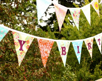 CUSTOM, Happy Birthday Banner Bunting Party Flags.  A Unique Party Decoration.  Reversible. Made To Order in Your Chosen Colors.