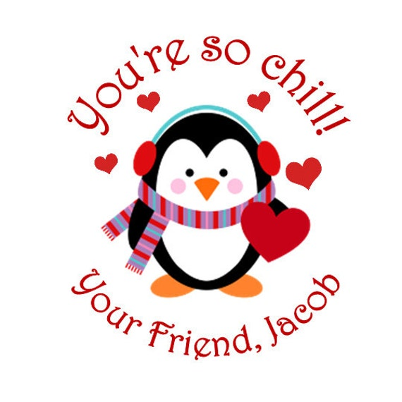 Penguin personalized stickers valentines day goodie bags for 18 8 salon rancho santa margarita