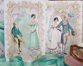 Jane Austen Pride and Prejudice Card Set of Four with Shimmering Aqua Envelopes and Seals