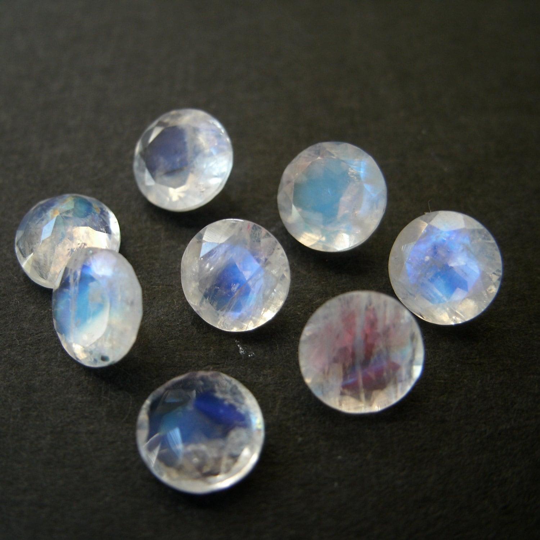 faceted gemstones rainbow moonstone brilliant cut 5mm for one